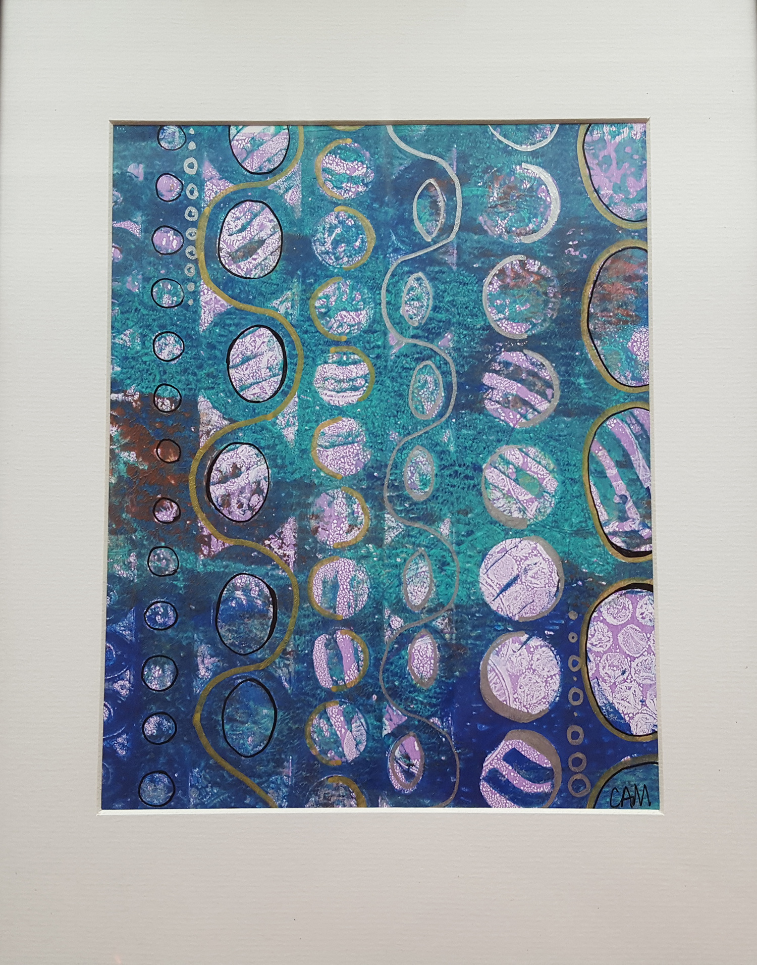 Pathways to Life, 2015. Gelli print, with mixed media.